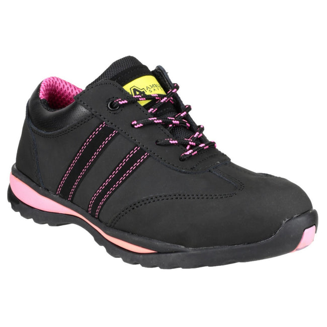Black - Side - Amblers Steel FS47 S1-P Trainer - Womens Shoes - Safety Shoes