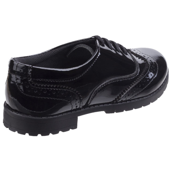 Black - Back - Hush Puppies Childrens-Girls Eadie Jnr Leather Brogue Shoes