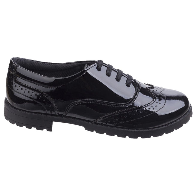 Black - Lifestyle - Hush Puppies Childrens-Girls Eadie Jnr Leather Brogue Shoes