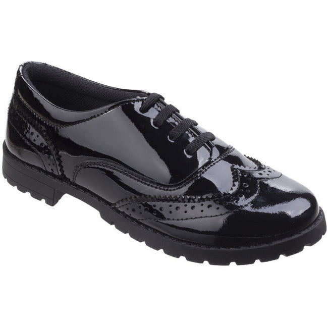 Black - Front - Hush Puppies Childrens-Girls Eadie Jnr Leather Brogue Shoes
