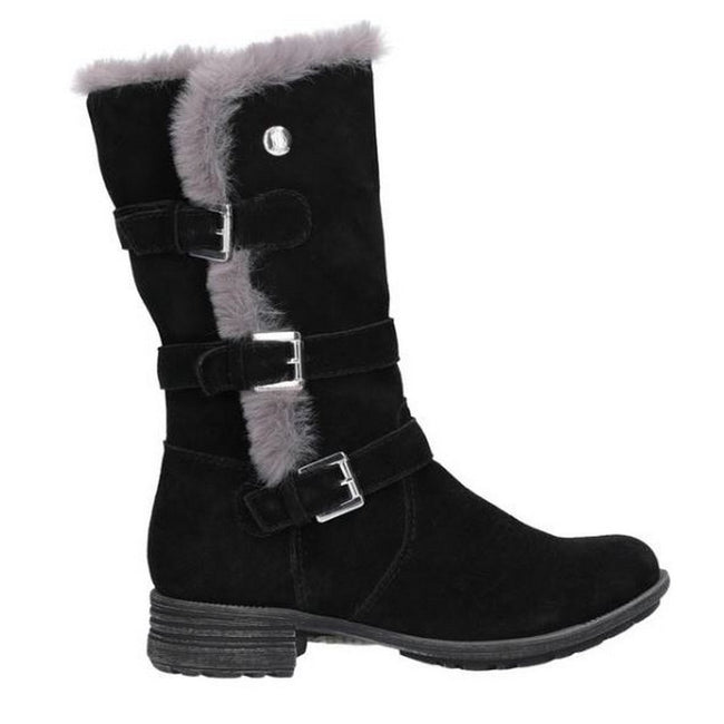 Black - Back - Hush Puppies Womens-Ladies Saluki Buckle Boots