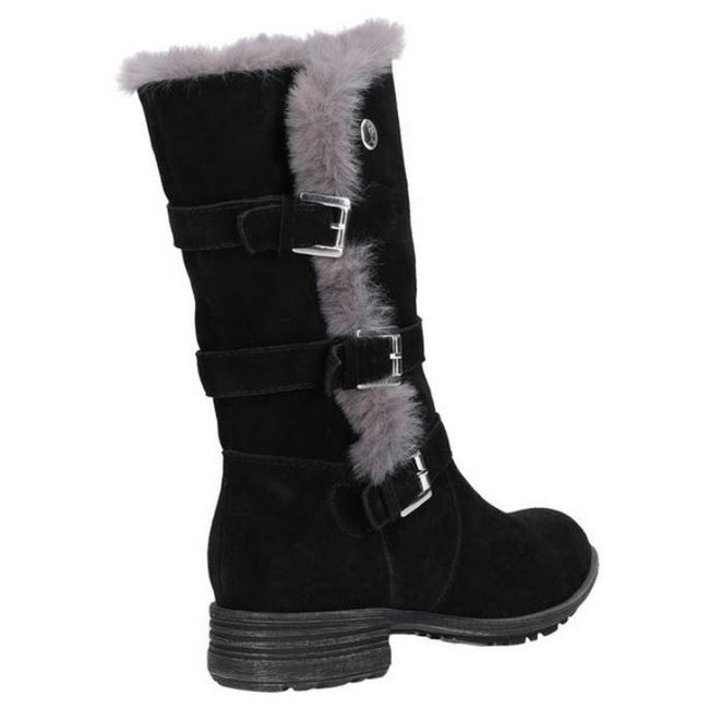 Black - Side - Hush Puppies Womens-Ladies Saluki Buckle Boots