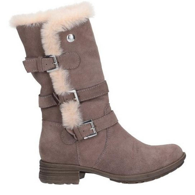 Taupe - Back - Hush Puppies Womens-Ladies Saluki Buckle Boots