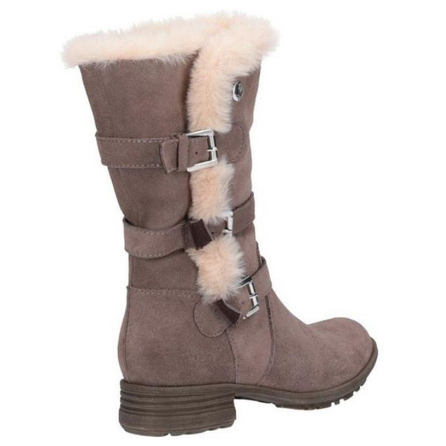 Taupe - Side - Hush Puppies Womens-Ladies Saluki Buckle Boots