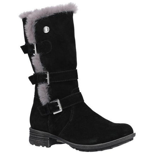 Black - Front - Hush Puppies Womens-Ladies Saluki Buckle Boots