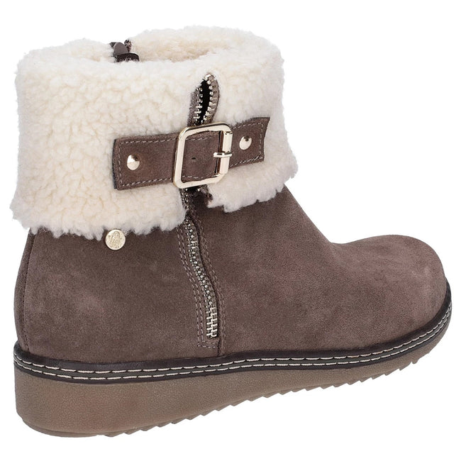 Grey - Back - Hush Puppies Womens-Ladies Maltese Collar Boots