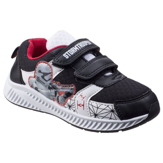 Black-White - Front - Leomil Childrens Boys Stormtrooper Touch Fastening Trainer