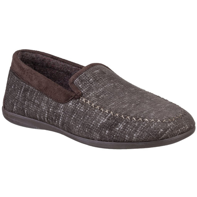 Brown - Front - Cotswold Mens Stanley Moc Toe Full Slipper