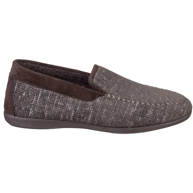 Brown - Back - Cotswold Mens Stanley Moc Toe Full Slipper