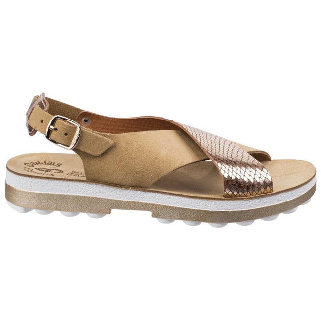 Tan - Lifestyle - Fantasy Womens-Ladies Izabella Buckle Up Sandals
