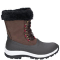 Brown - Side - Muck Boots Womens-Ladies Apres Leather Lace Up Mid Boot