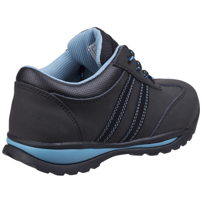 Black-Blue - Back - Amblers Womens-Ladies Lace Up Nubuck Leather Safety Trainer