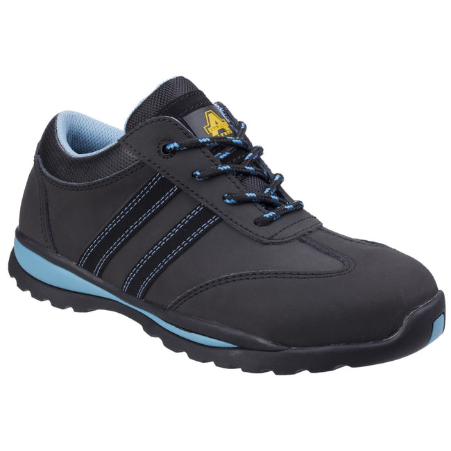 Black-Blue - Front - Amblers Womens-Ladies Lace Up Nubuck Leather Safety Trainer