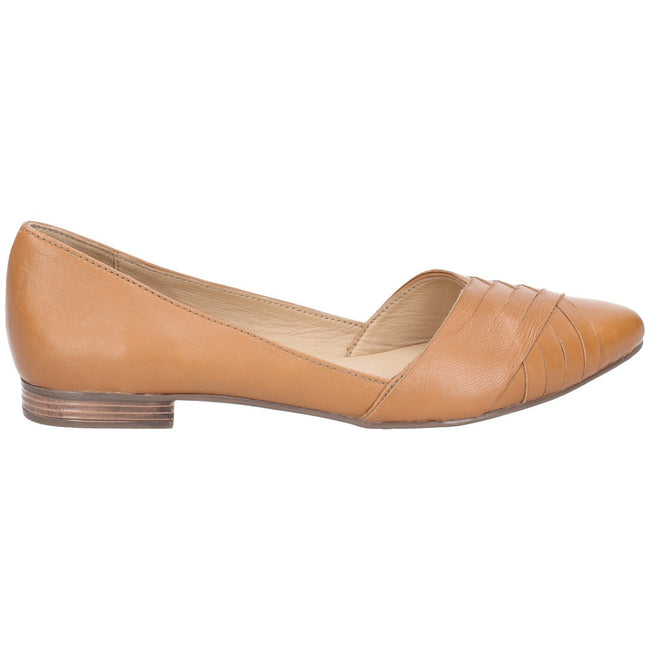 Black - Back - Hush Puppies Womens-Ladies Marley Ballerina Leather Slip On Shoes