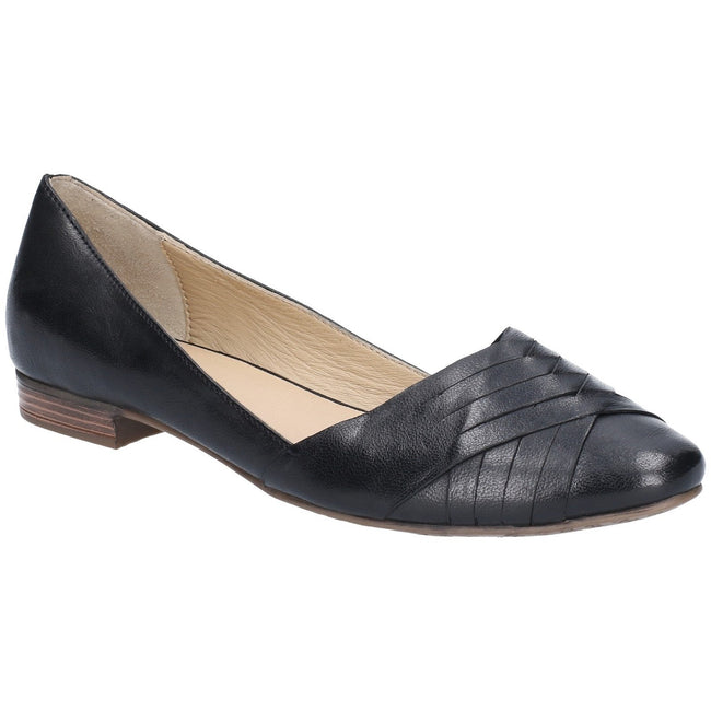 Tan - Front - Hush Puppies Womens-Ladies Marley Ballerina Leather Slip On Shoes