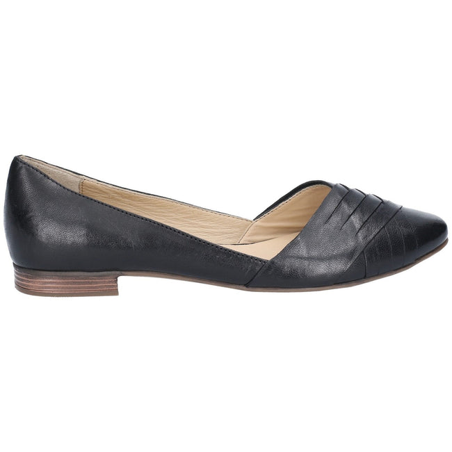 Tan - Back - Hush Puppies Womens-Ladies Marley Ballerina Leather Slip On Shoes