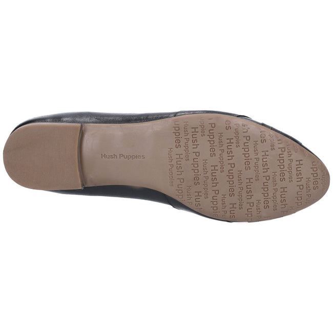 Tan - Side - Hush Puppies Womens-Ladies Marley Ballerina Leather Slip On Shoes