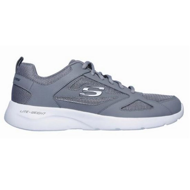 Grey - Back - Sketchers Womens-Ladies Dynamight 2.0 Lace Up Leather Trainers