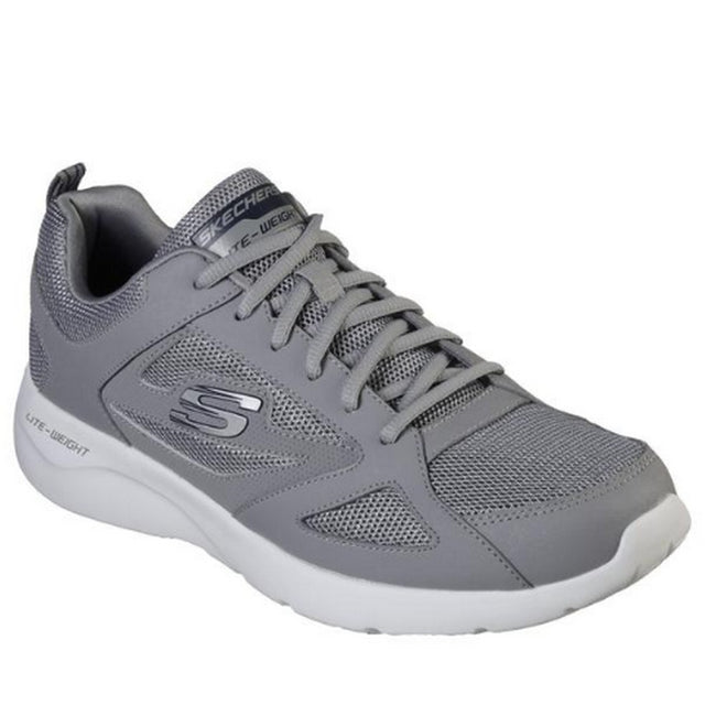 Grey - Front - Sketchers Womens-Ladies Dynamight 2.0 Lace Up Leather Trainers