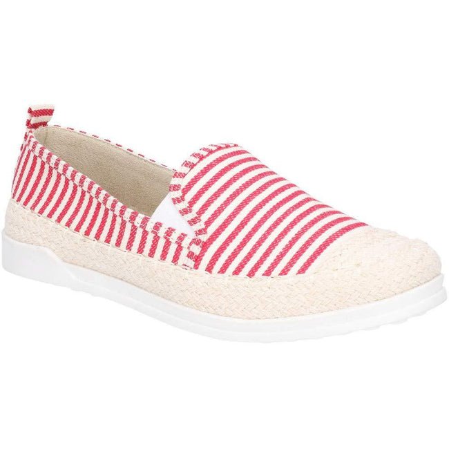 Red - Front - Fleet & Foster Womens-Ladies Paradise Nautical Espadrille Loafer