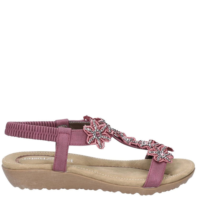 Plum - Back - Fleet & Foster Womens-Ladies Magnolia Elastic T-Bar Sandal