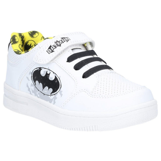 White - Front - Leomil Boys Batman Touch Fastening Trainer