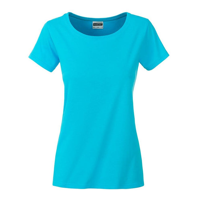 Turquoise - Front - James and Nicholson Womens-Ladies Basic Organic Cotton T-Shirt
