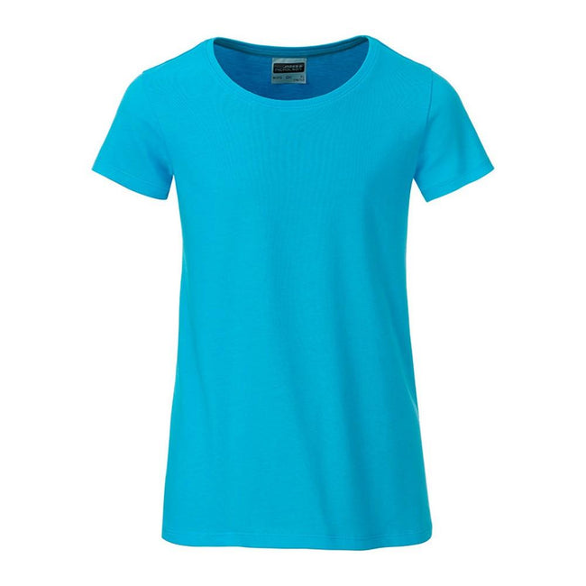 Turquoise - Front - James and Nicholson Girls Basic T-Shirt