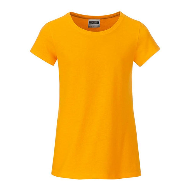 Gold Yellow - Front - James and Nicholson Girls Basic T-Shirt