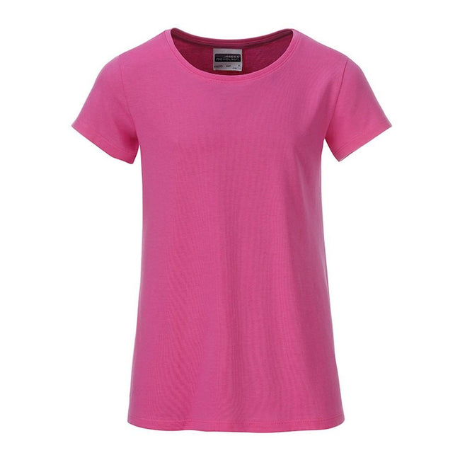 Pink - Front - James and Nicholson Girls Basic T-Shirt
