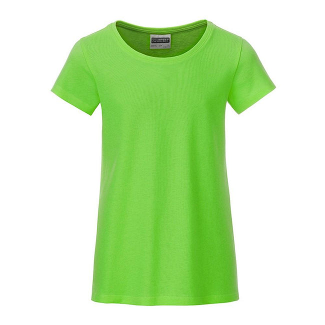 Lime Green - Front - James and Nicholson Girls Basic T-Shirt