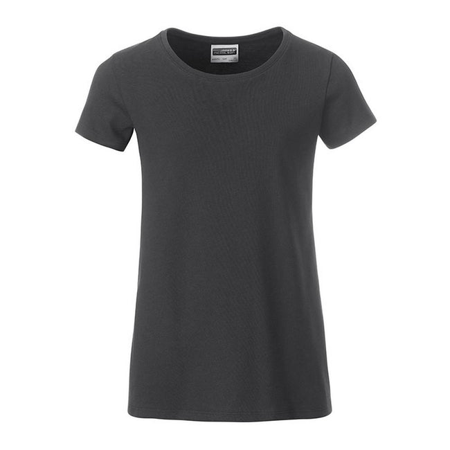 Graphite Grey - Front - James and Nicholson Girls Basic T-Shirt
