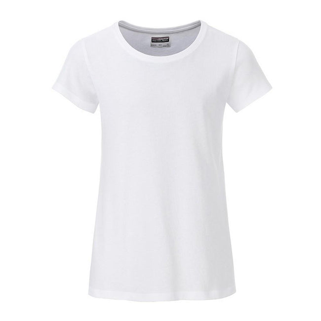 White - Front - James and Nicholson Girls Basic T-Shirt