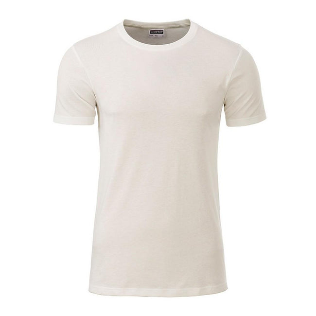 Natural - Front - James and Nicholson Mens Basic T-Shirt