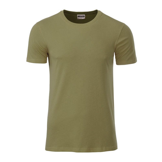 Khaki - Front - James and Nicholson Mens Basic T-Shirt