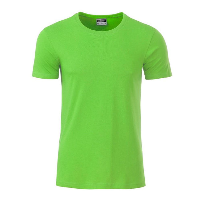 Lime Green - Front - James and Nicholson Mens Basic T-Shirt