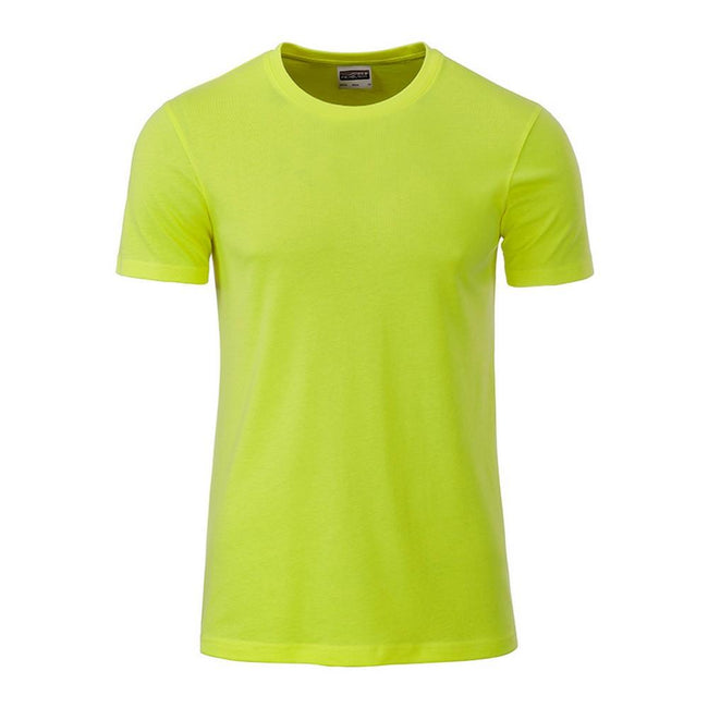 Acid Yellow - Front - James and Nicholson Mens Basic T-Shirt