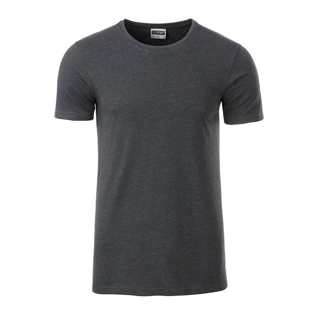 Black Heather - Front - James and Nicholson Mens Basic T-Shirt