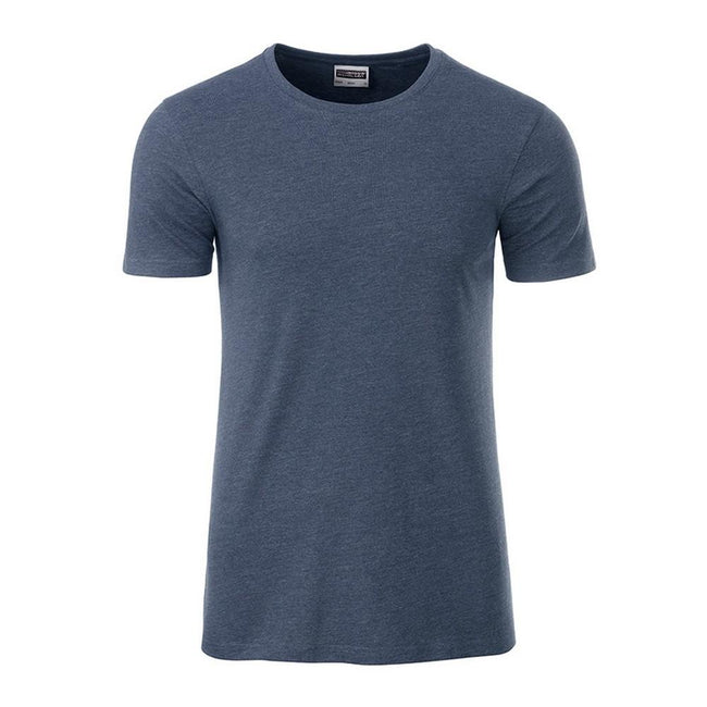 Light Denim Melange - Front - James and Nicholson Mens Basic T-Shirt