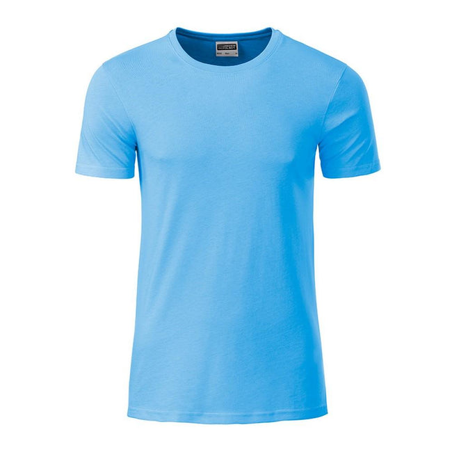 Sky Blue - Front - James and Nicholson Mens Basic T-Shirt