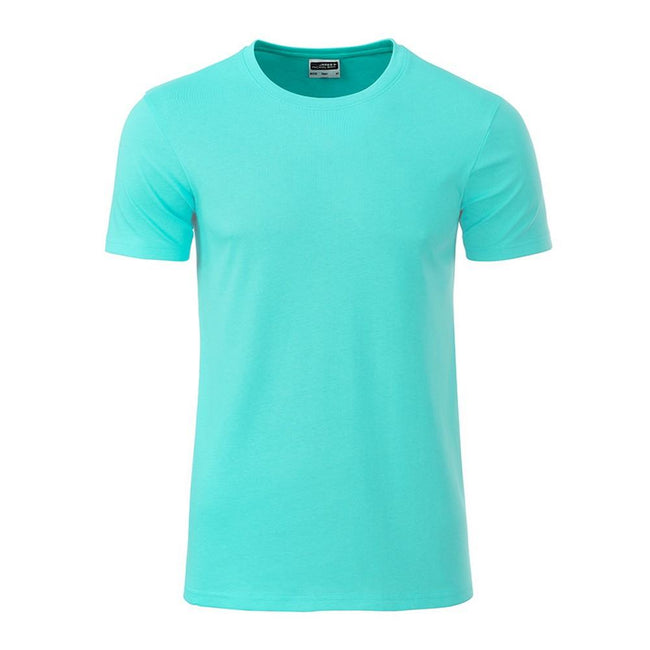 Mint - Front - James and Nicholson Mens Basic T-Shirt