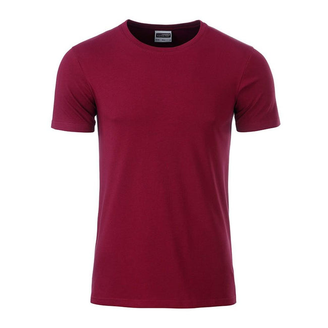 Wine Purple - Front - James and Nicholson Mens Basic T-Shirt