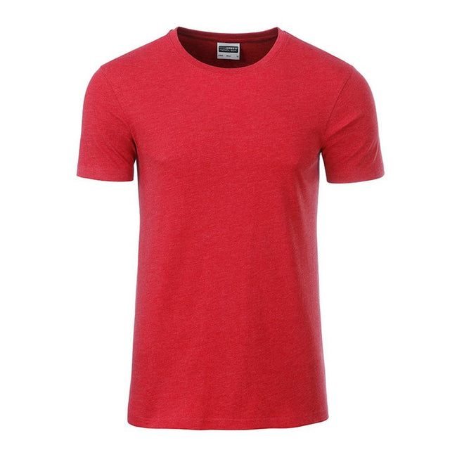 Carmine Red Melange - Front - James and Nicholson Mens Basic T-Shirt