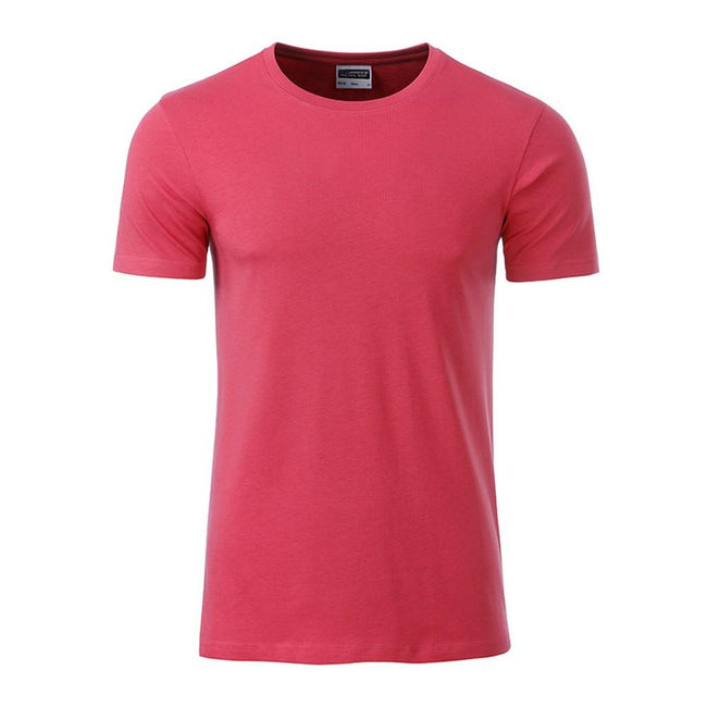 Raspberry - Front - James and Nicholson Mens Basic T-Shirt