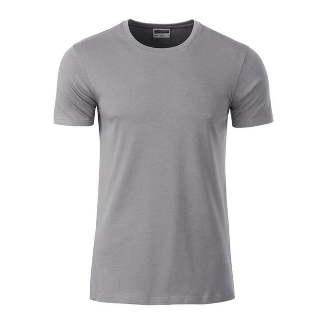 Steel Grey - Front - James and Nicholson Mens Basic T-Shirt