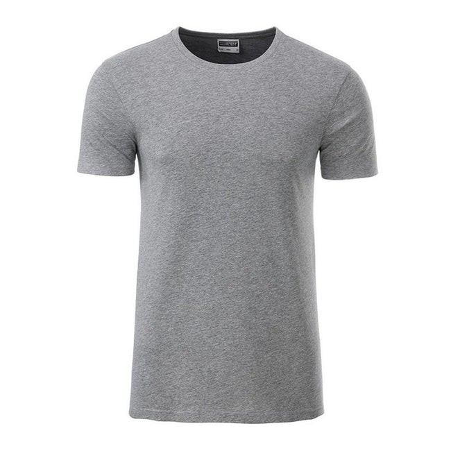 Grey Heather - Front - James and Nicholson Mens Basic T-Shirt