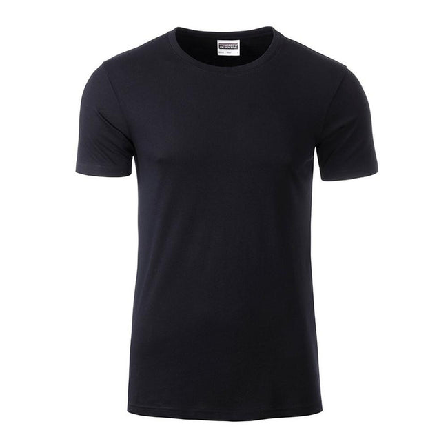 Black - Front - James and Nicholson Mens Basic T-Shirt