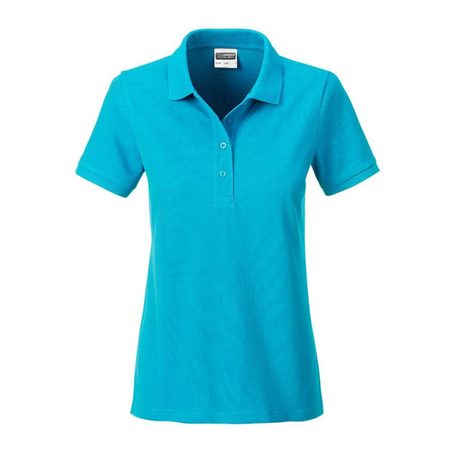 Turquoise - Front - James and Nicholson Womens-Ladies Basic Polo