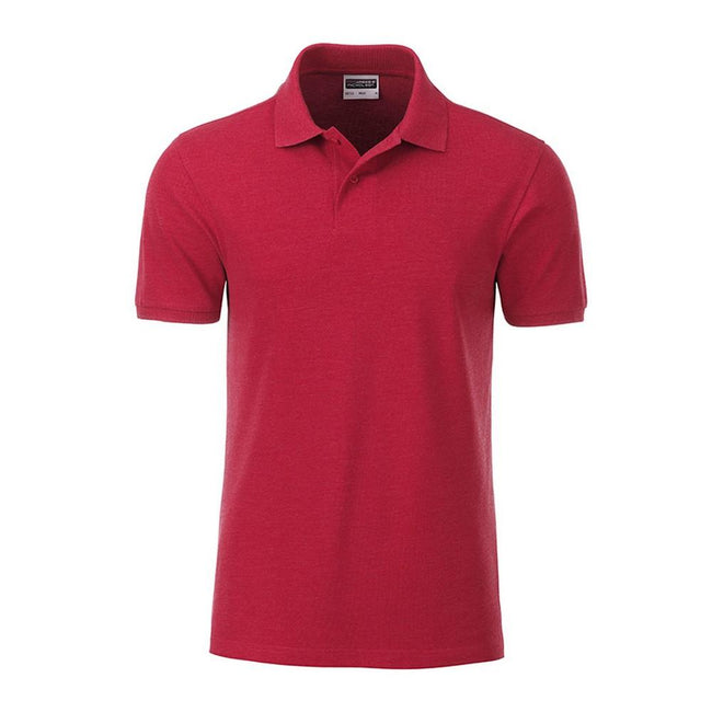 Carmine Red Melange - Front - James and Nicholson Mens Basic Polo