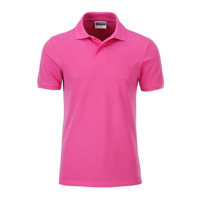 Pink - Front - James and Nicholson Mens Basic Polo